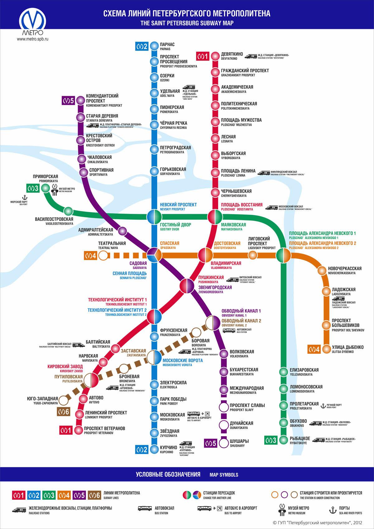 Карта (схема) метро санкт петербурга, спб. Схема (карта) санкт.