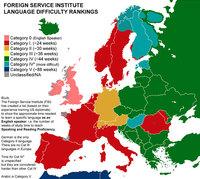 Карта показывает, сколько времени занимает изучение разных языков мира