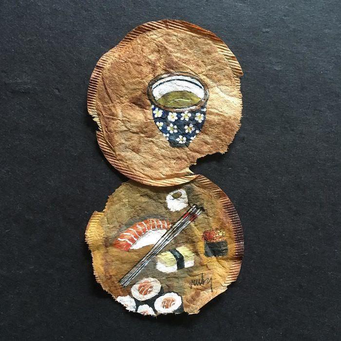 Художница создает настоящие шедевры на чайных пакетиках