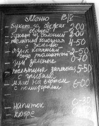 Меню и цены популярных в СССР кафе и ресторанов
