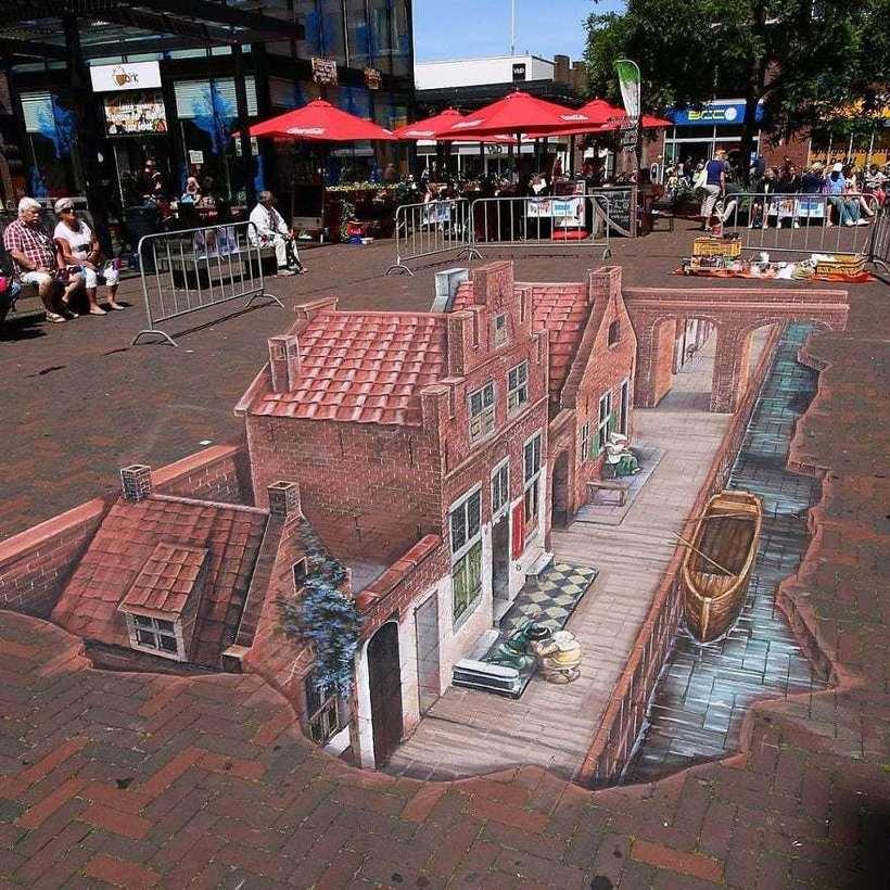 Художник создает невероятные рисунки на асфальте, возле которых хочется остановиться