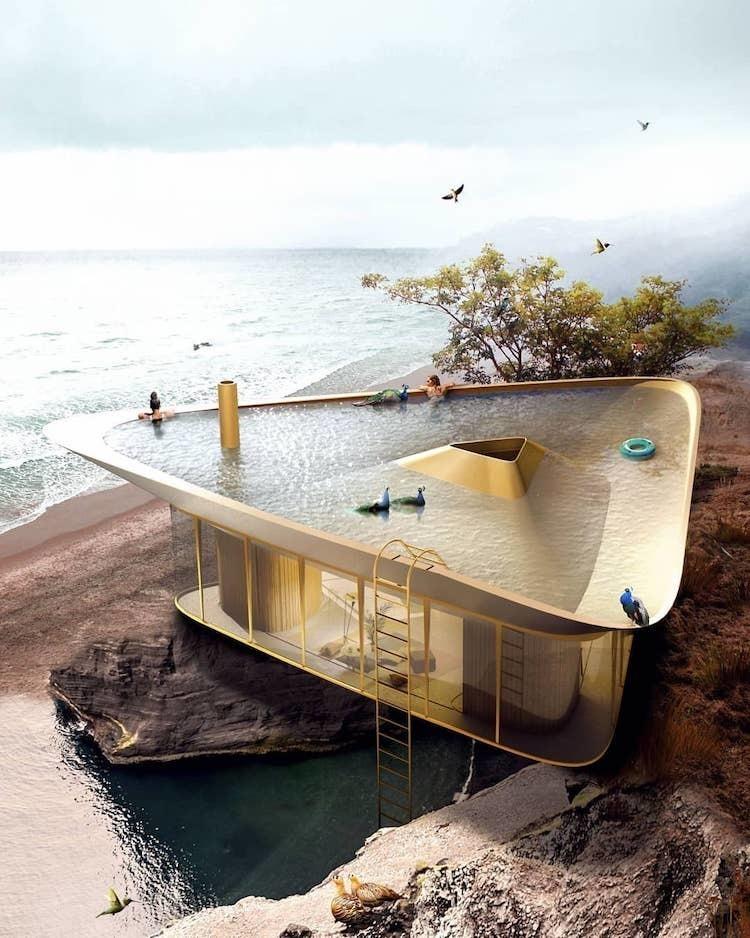 Архитекторы создали проект современного летнего дома мечты с крышей-бассейном