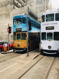 Двухэтажные гонконгские трамваи, август 2018