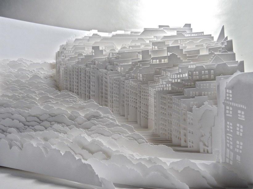 Художница создает потрясающие белоснежные города из бумаги